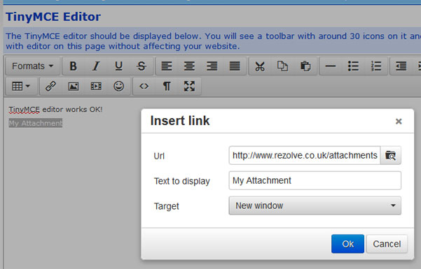 TinyMCE - How to display dropdown of anchor links when clicking