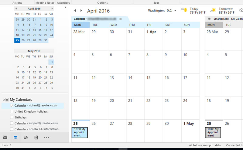 Office Calendar 365 : Migrating smartermail calendar to office powered by